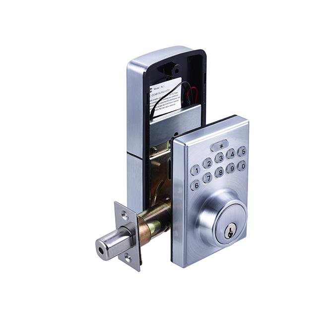 universal electronic keypad deadbolt square satin. Black Bedroom Furniture Sets. Home Design Ideas