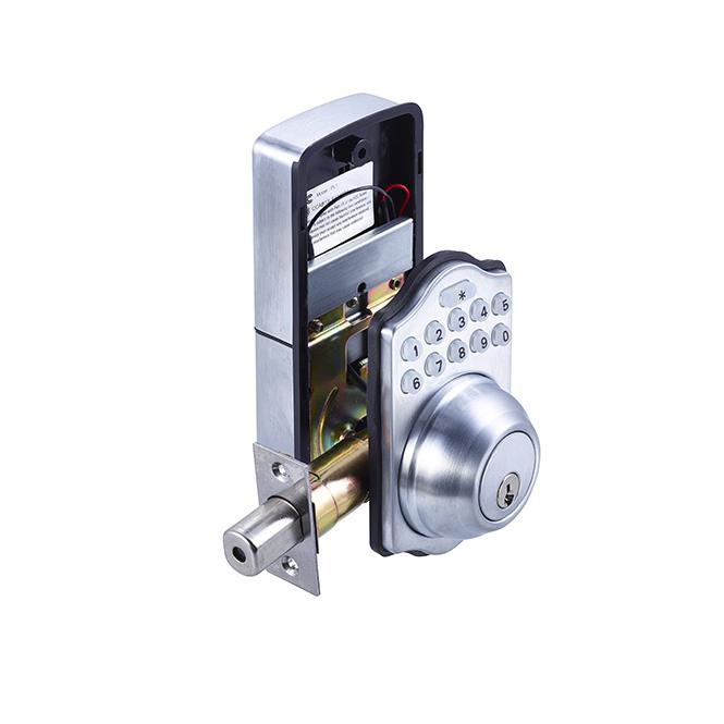 electronic keypad deadbolt satin chrome discount door hardware. Black Bedroom Furniture Sets. Home Design Ideas