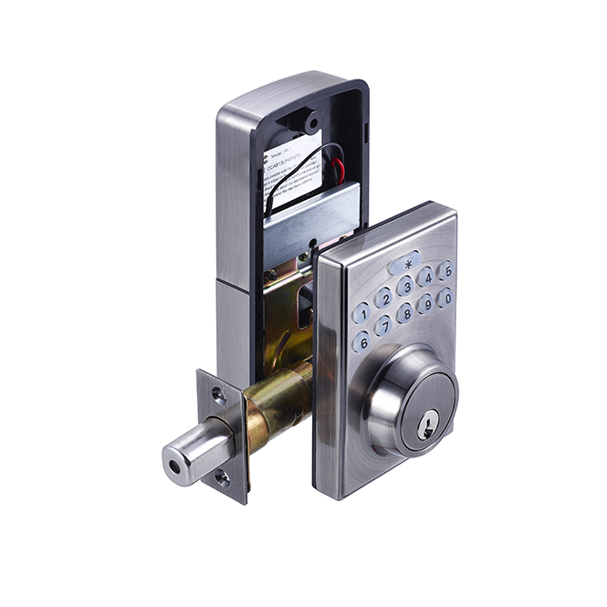Electronic Keypad Deadbolt – Square – Antique Nickel