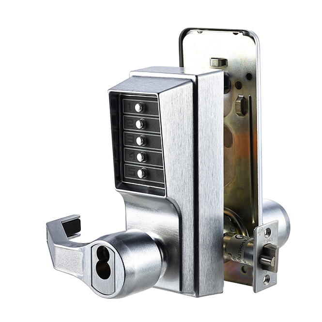 Kaba Simplex LL1021S 26D Mechanical Push Button Lock With Lever & Key  Override – Satin Chrome