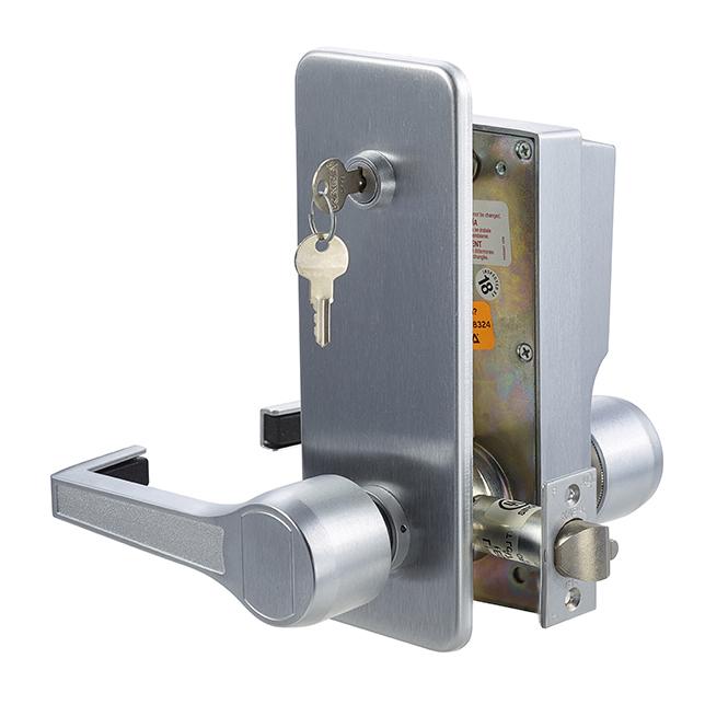 Kaba Simplex LR1021S 26D Mechanical Push Button Lock With Lever & Key  Override – Satin Chrome